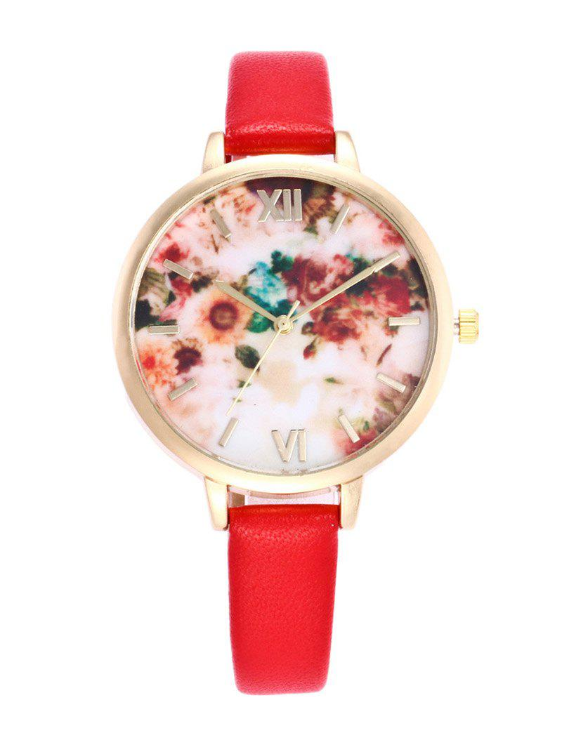 Roman Numeral Faux Leather Flower Printed Watch