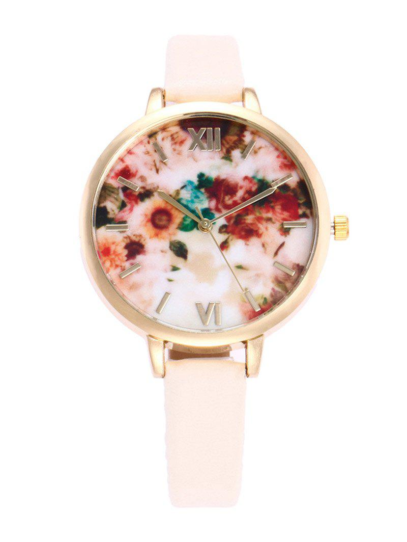 Roman Numeral Faux Leather Flower Printed Watch floral bird roman numeral faux leather watch