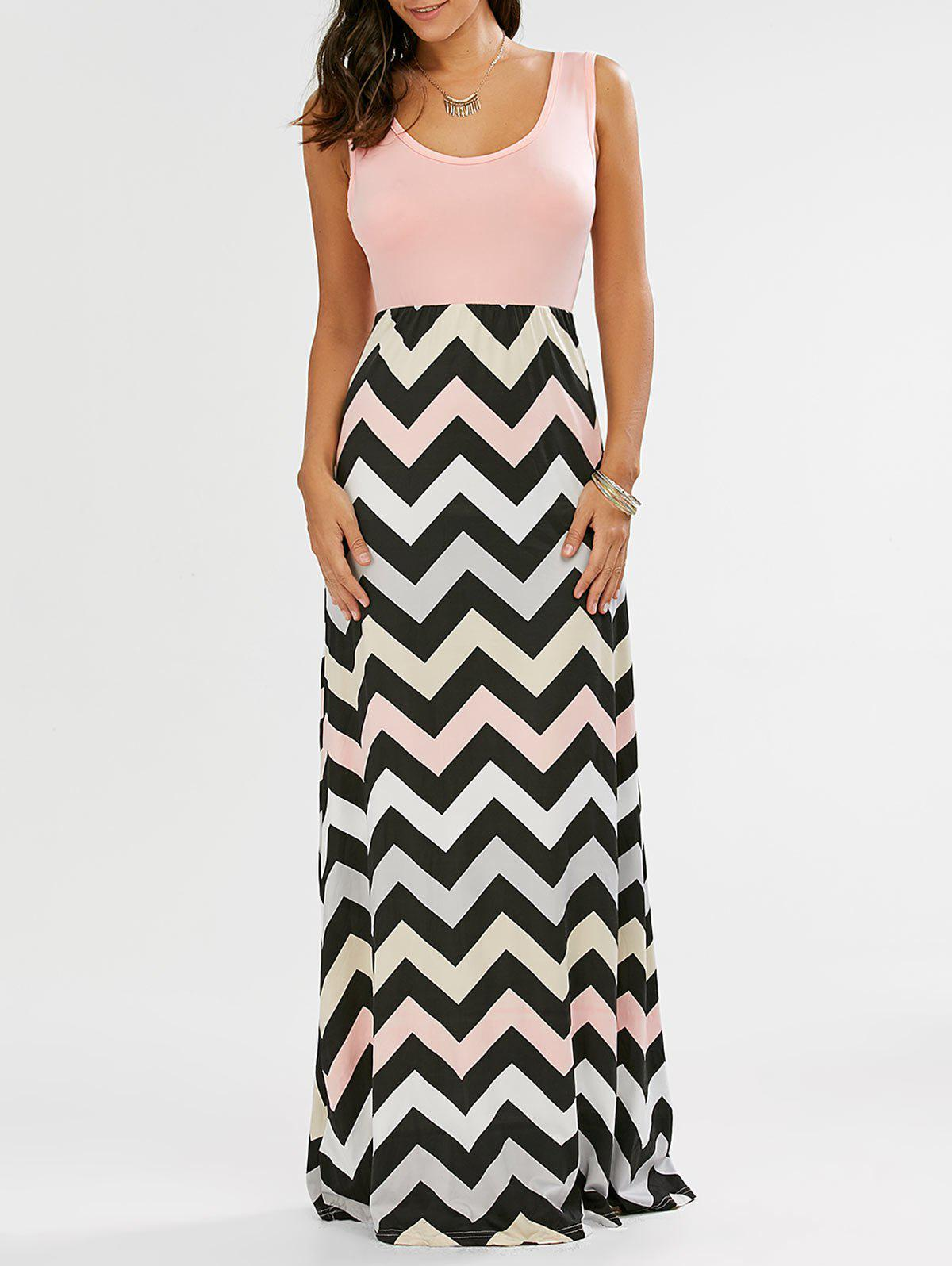 Sleeveless Scoop Neck Striped Long Dress