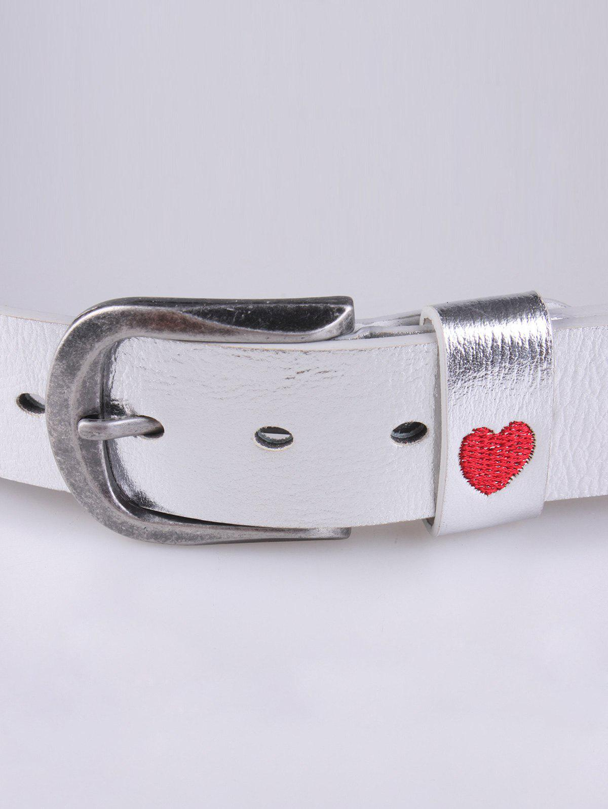 Flower Heart Embroidered Faux Leather Belt - SILVER