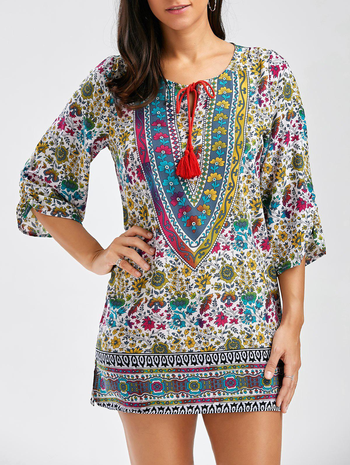 Vintage Style V-Neck Full Print 3/4 Sleeve Women's Dress - COLORMIX L