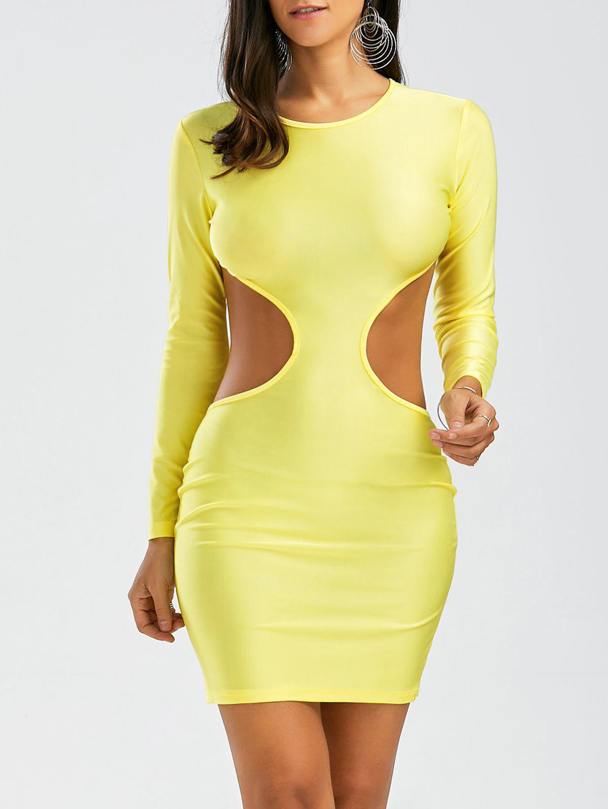 Open Back Cut Out Long Sleeve Bodycon Dress - YELLOW M