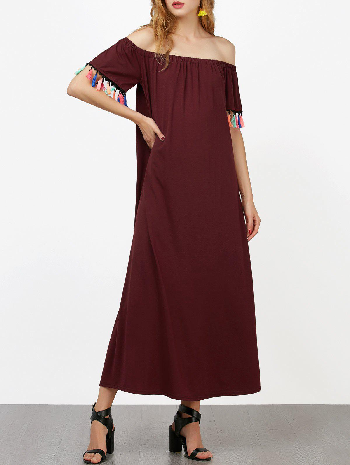 Off The Shoulder Short Sleeve Maxi Dress - WINE RED S