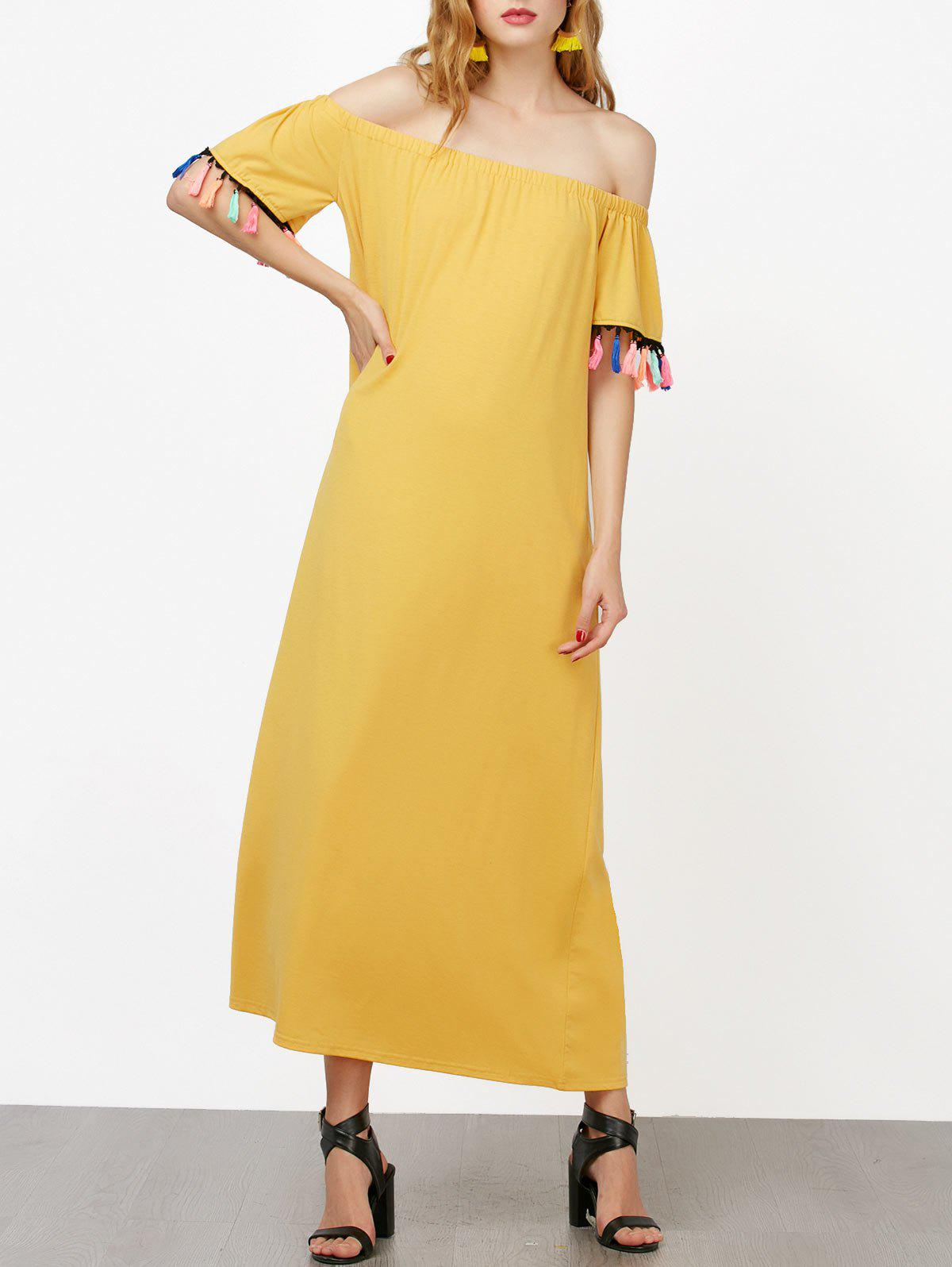 Off The Shoulder Short Sleeve Maxi Dress - YELLOW S