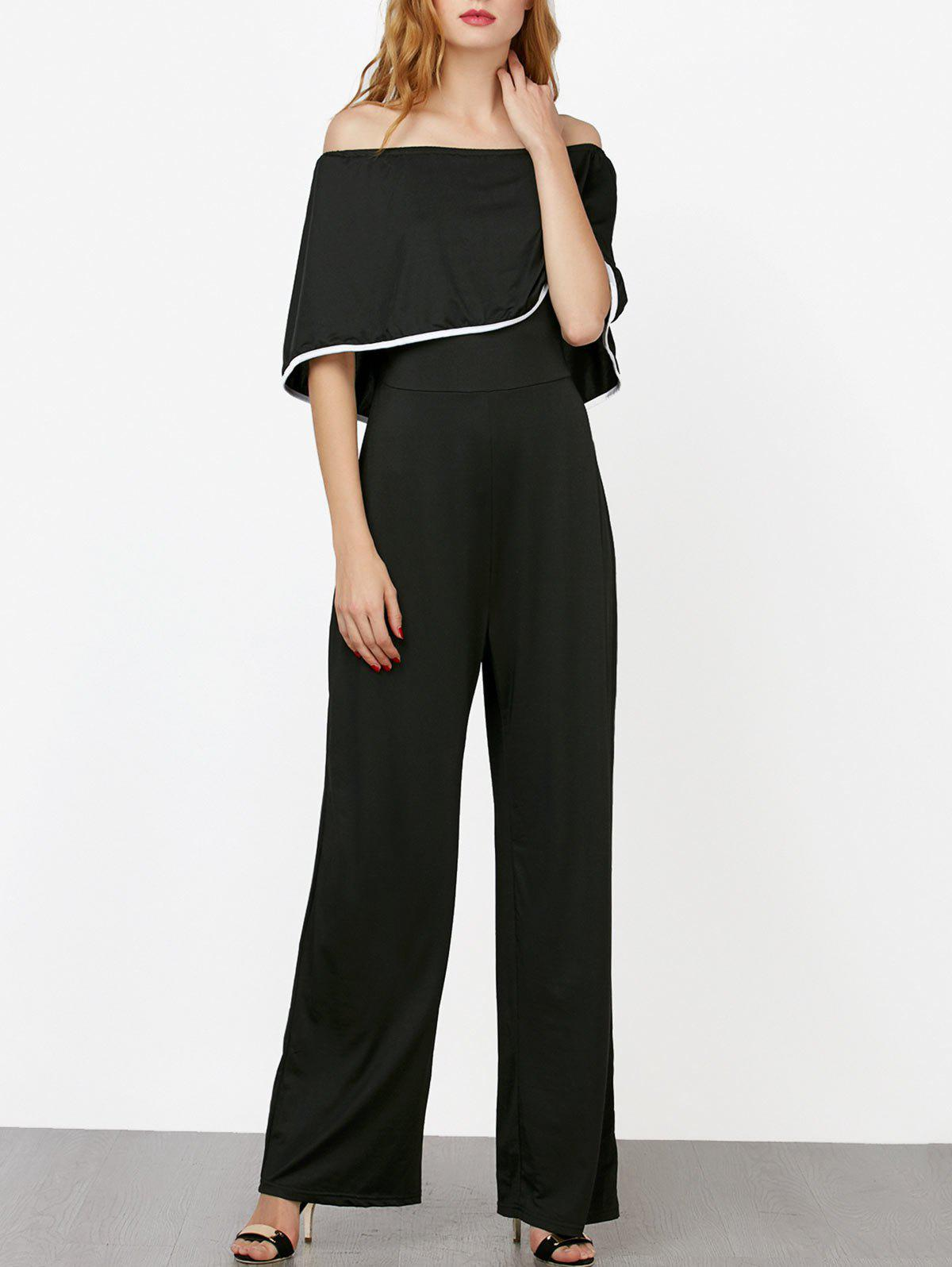 Off The Shoulder Contrast Piped Jumpsuit - BLACK L