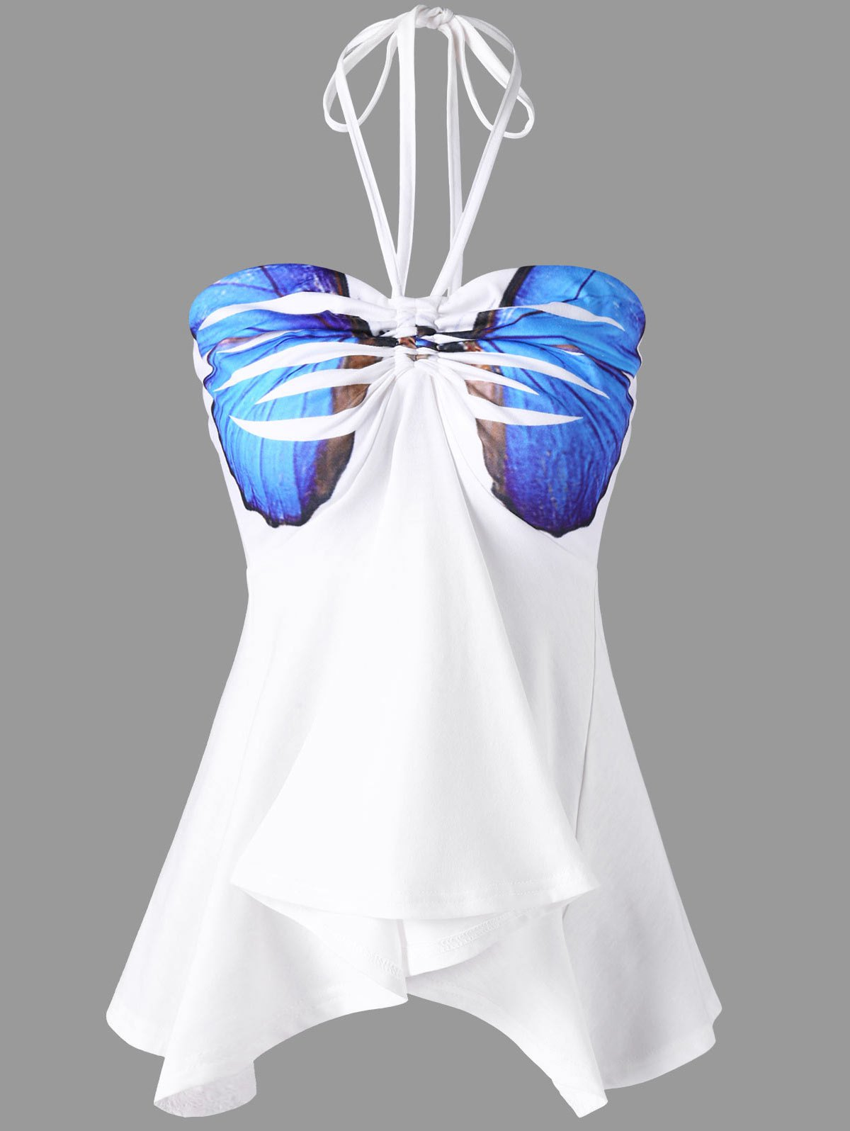 Butterfly Printed Ruffle Halter Bandeau Top - WHITE 2XL