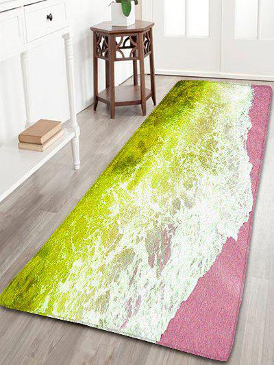 Sea Tide Print Water Absorption Flannel Skidproof Bathroom Rug sea tide print antiskid flannel bathroom rug