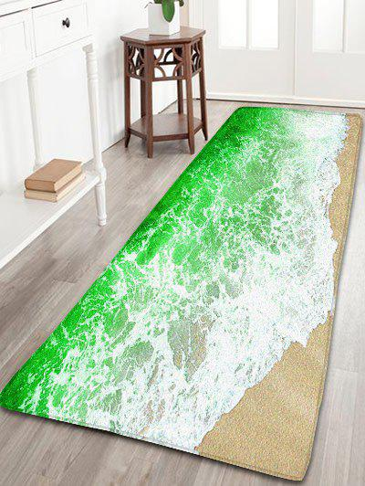 Sea Tides Print Skidproof Flannel Bathroom Rug skidproof flannel bathroom rug with nightfall surfing print