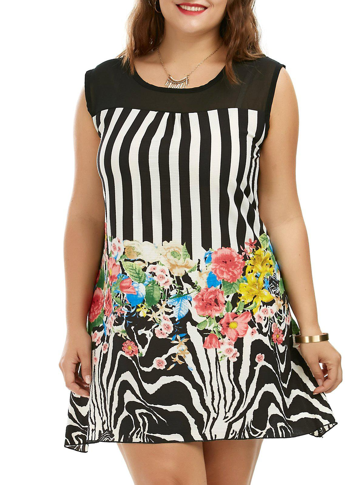Floral Striped Plus Size Sleeveless Tunic Dress 212226801