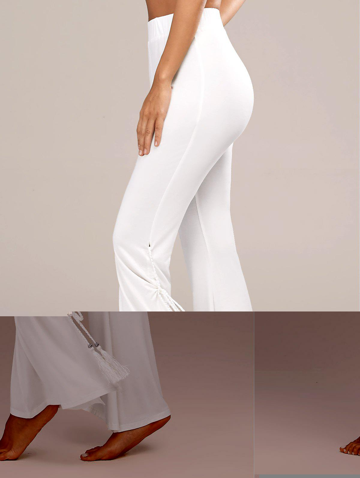 Tassels Side Slit High Waist Flare Pants - WHITE XL