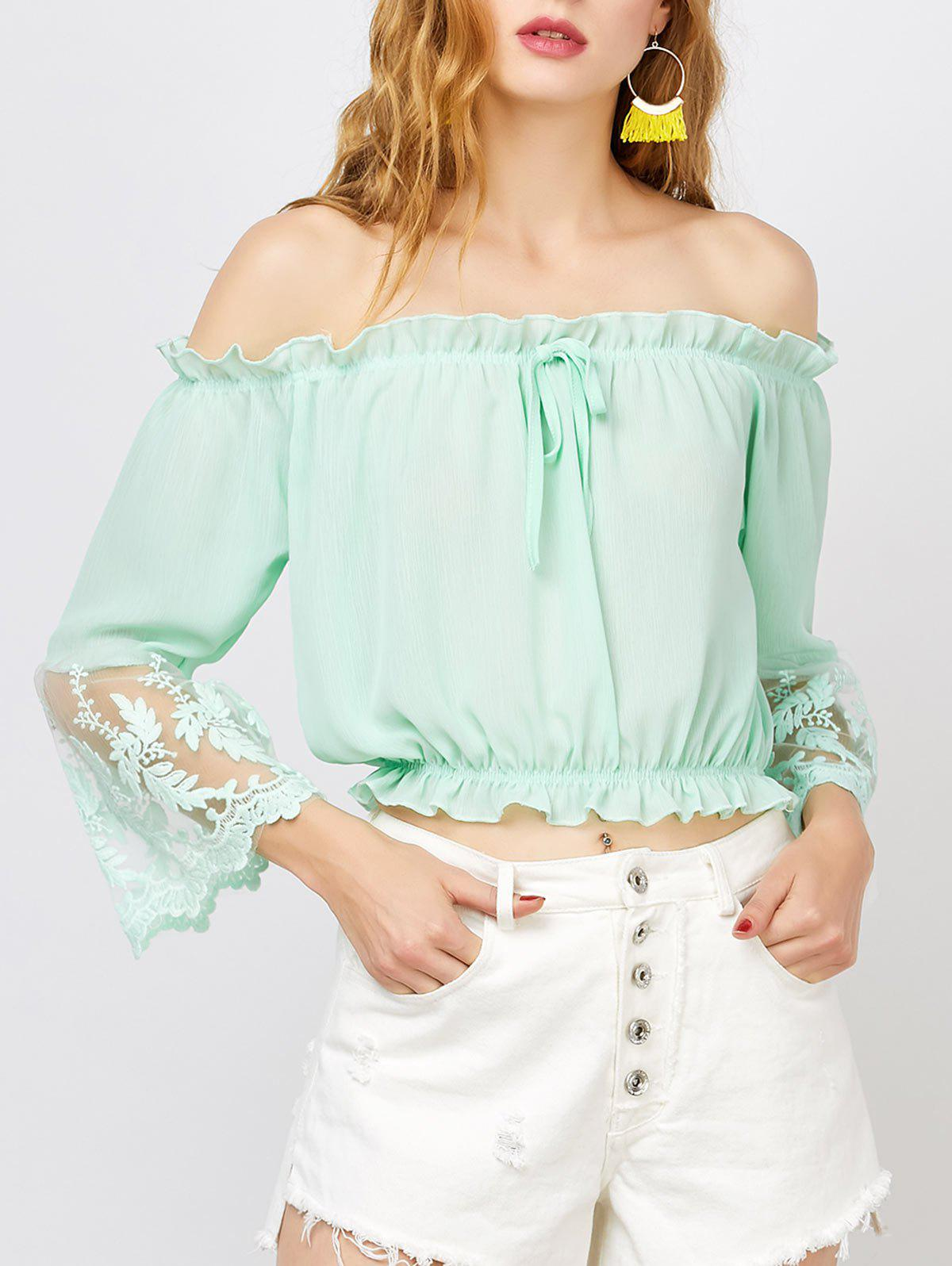 Lace Trim Off The Shoulder Chiffon Top - LIGHT GREEN L