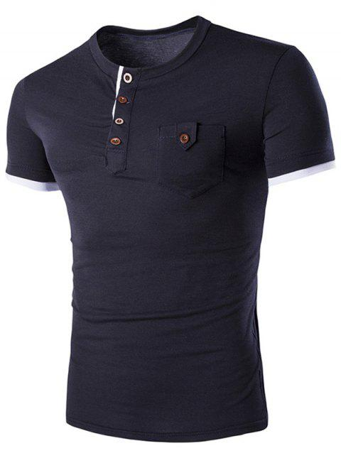 Men's Casual Solid Color Round Color Short Sleeves T-Shirt - CADETBLUE M