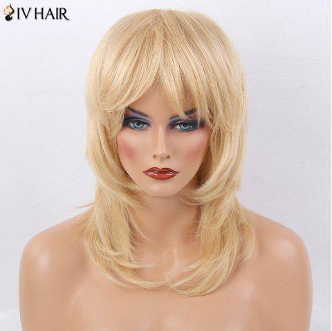 Siv Hair Medium Side Bang Straight Layered Tail Adduction Human Hair Wig - GOLDEN BROWN/BLONDE