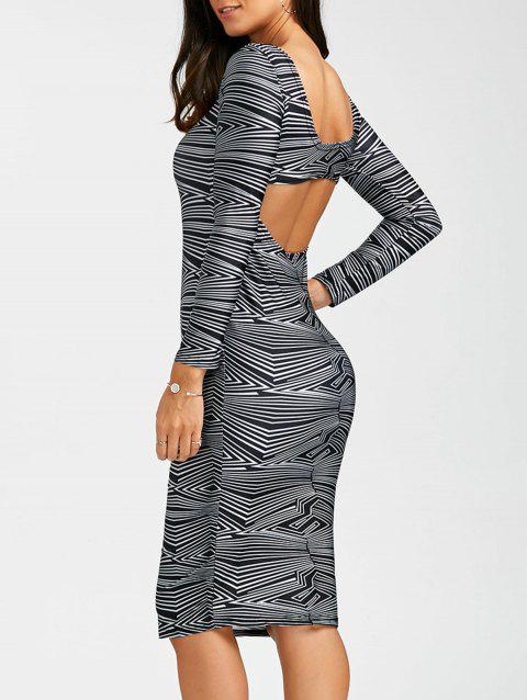 Sexy Scoop Neck Long Sleeve Backless Bodycon Women's Dress - BLACK M