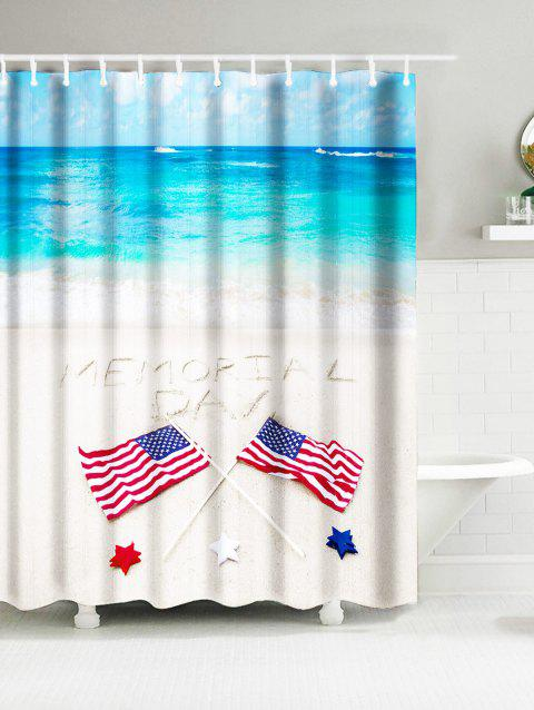 Sea Beach American Flag Memorial Day Water Resistant Shower Curtain