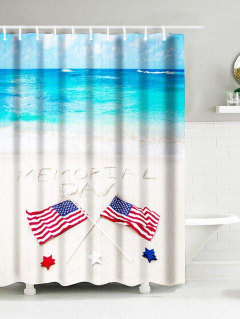 Sea Beach American Flag Memorial Day Water Resistant Shower Curtain - SKY BLUE W59 INCH * L71 INCH