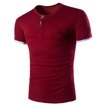 Men 39 s casual solid color round color short sleeves t shirt for Wine colored mens dress shirts
