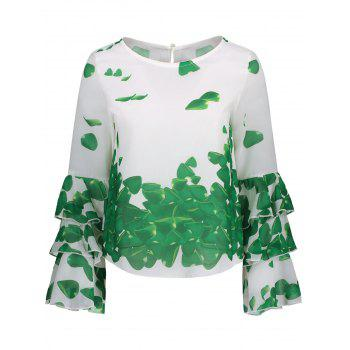 Bell Sleeve Printed Layer Blouse - GREEN GREEN