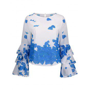 Bell Sleeve Printed Layer Blouse - BLUE BLUE