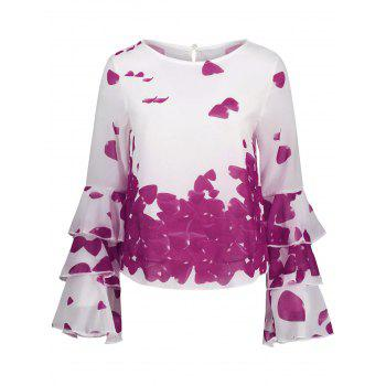 Bell Sleeve Printed Layer Blouse