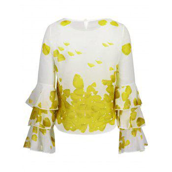 Bell Sleeve Printed Layer Blouse - YELLOW YELLOW