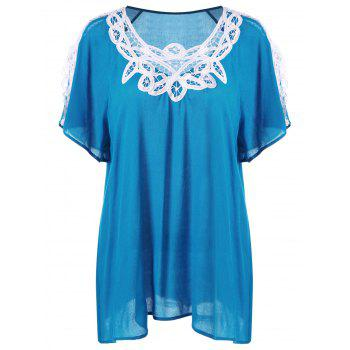 Plus Size Cutwork Trim Slit Sleeve Blouse