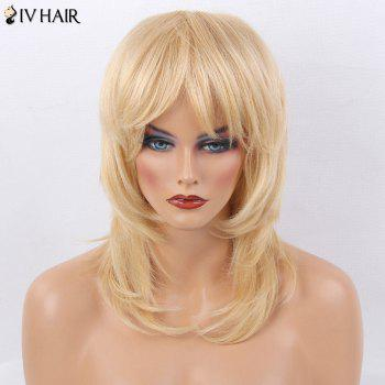 Siv Hair Medium Side Bang Straight Layered Tail Adduction Human Hair Wig