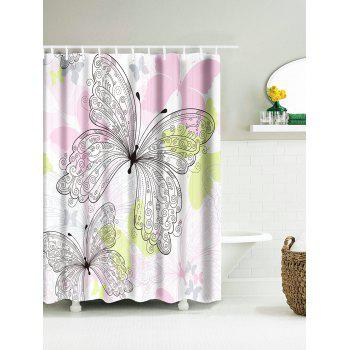 Butterfly Pattern Waterproof Polyester Shower Curtain