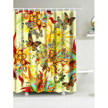 Springtime Butterflies Print Bathroom Water Resistant Shower Curtain