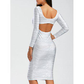Sexy Scoop Neck Long Sleeve Backless Bodycon Robe Femme