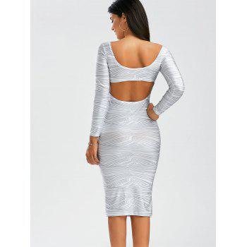Sexy Scoop Neck Long Sleeve Backless Bodycon Women's Dress - WHITE M