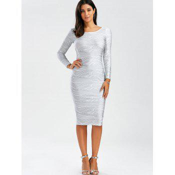 Sexy Scoop Neck Long Sleeve Backless Bodycon Women's Dress - L L