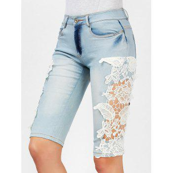 Fashionable Crochet Flower Splicing Denim Women' Fifth Pants