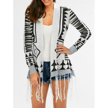 Fashionable Geometric Pattern Tassel Embellished Long Sleeve Women's Cardigan