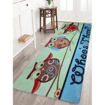 Antislip Coral Fleece Cartoon Owl Floor Rug