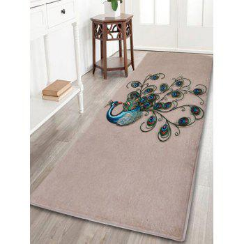 Coral Fleece Peacock Pattern Area Rug