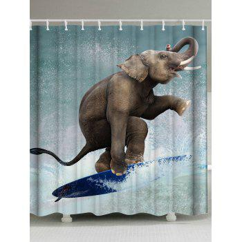 Surfing Elephant Print Fabric Shower Curtain