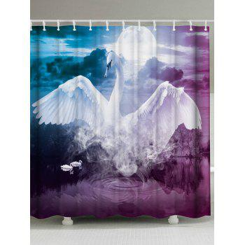 Mew Swan Extra Long Fabric Shower Curtain