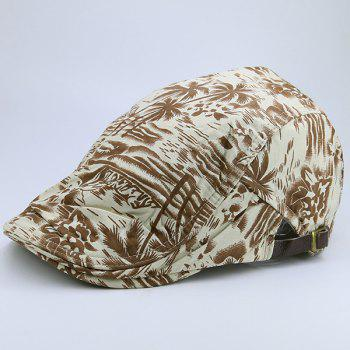 Coconut Palm Sea Printing Flat Hat - KHAKI