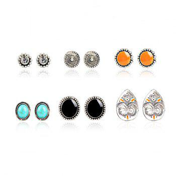 Rhinestone Artificial Turquoise Circle Stud Earring Set