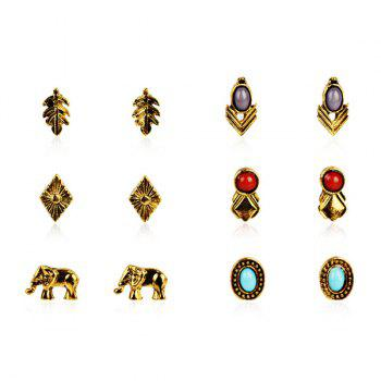 Faux Gemstone Elephant Oval Leaf Stud Earring Set