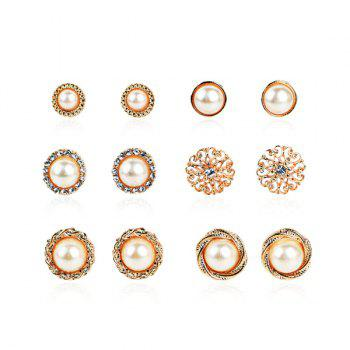 Artificial Pearl Rhinestone Flower Circle Earring Set