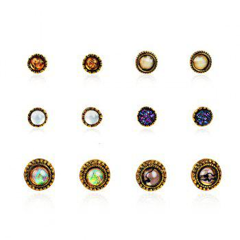 Faux Gem Circle Stud Earring Set