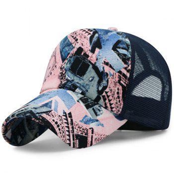 Mesh Splicing British Element Printing Baseball Hat