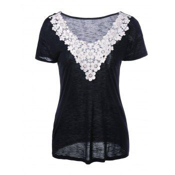 Crochet Floral Neck Heather T-Shirt