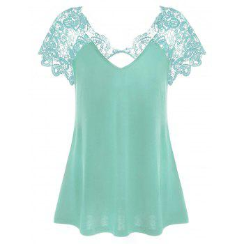 Cut Out Lace Panel T-Shirt