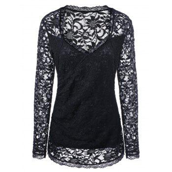 Plus Size Sweetheart Neck Lace Cutwork Blouse