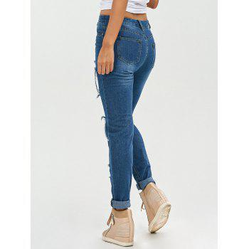 Lace Insert Skinny Ripped Jeans - DENIM BLUE DENIM BLUE