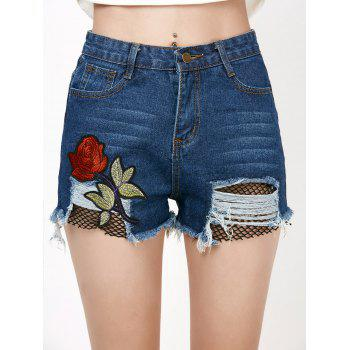Rose Embroidery Ripped Jean Shorts with Fishnet