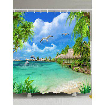 Sea Gull Dolphin Palm Seascape Shower Curtain